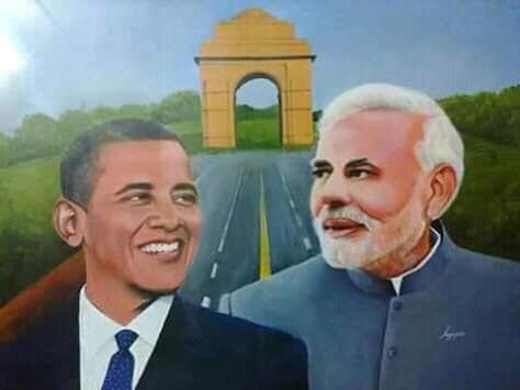 Narendra Modi, Barack Obama by anjoo.johri001@yahoo